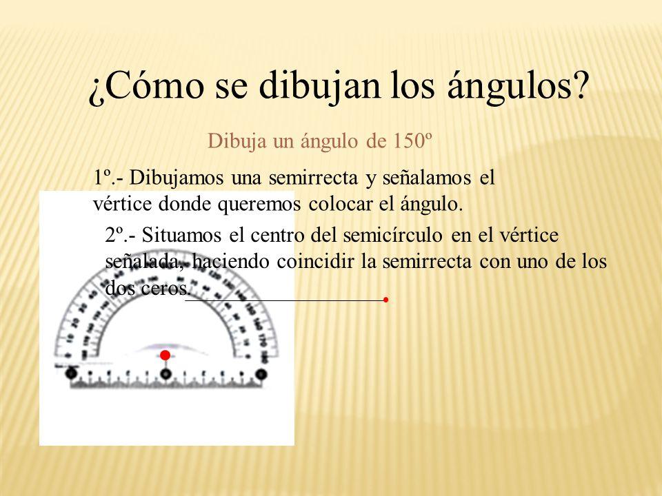 180 0 Colocamos el punto central del transportador sobre el vértice del ángulo. De forma que uno de los dos lados salga por un 0. ¿Cómo se miden los á