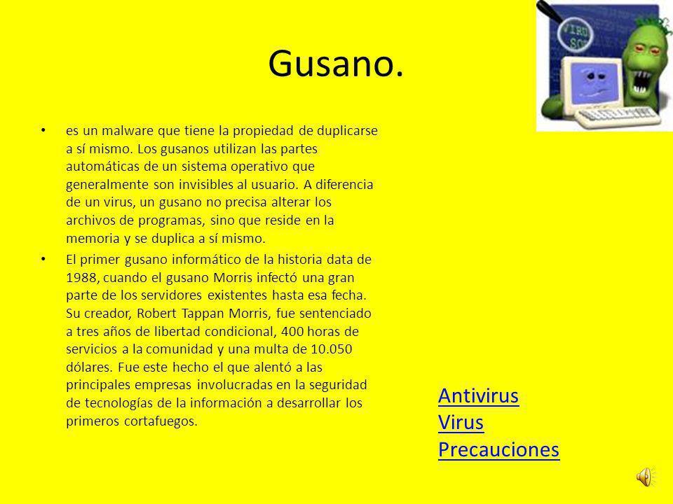 Gusano.es un malware que tiene la propiedad de duplicarse a sí mismo.