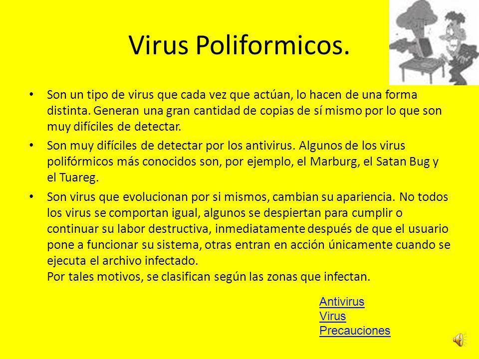 Virus Poliformicos.Son un tipo de virus que cada vez que actúan, lo hacen de una forma distinta.