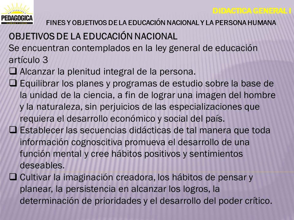 DIDACTICA GENERAL I FINES Y OBJETIVOS DE LA EDUCACIÓN NACIONAL Y LA PERSONA HUMANA OBJETIVOS DE LA EDUCACIÓN NACIONAL Se encuentran contemplados en la