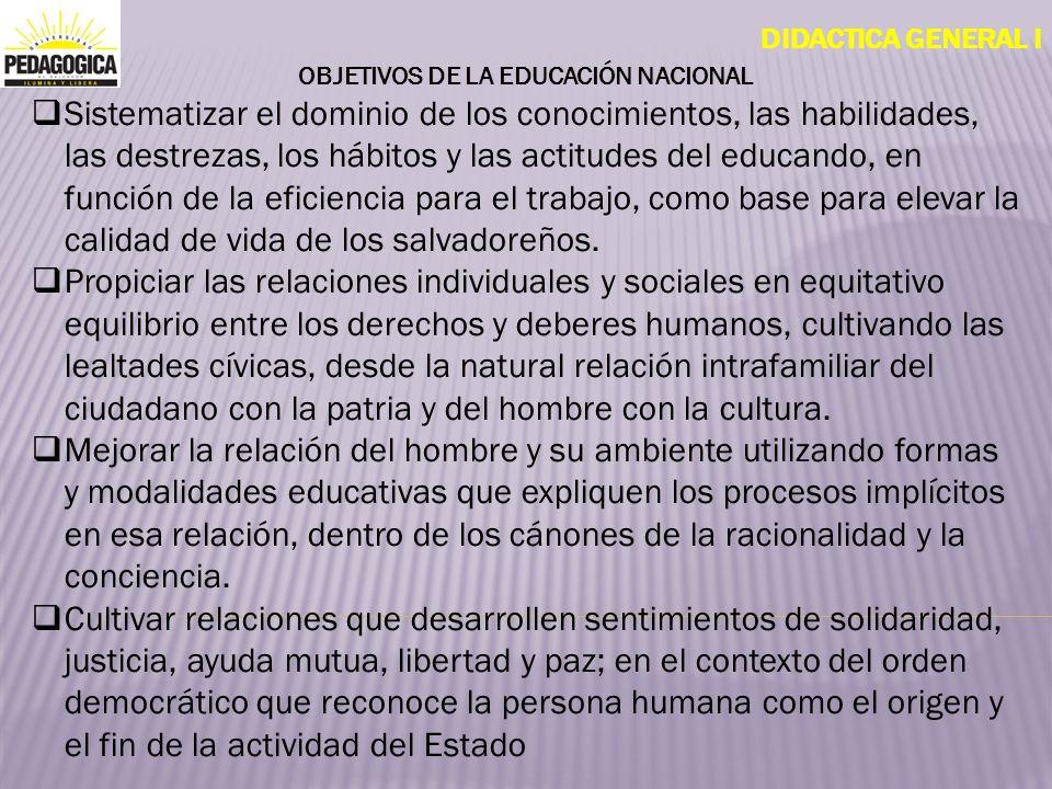 DIDACTICA GENERAL I OBJETIVOS DE LA EDUCACIÓN NACIONAL Sistematizar el dominio de los conocimientos, las habilidades, las destrezas, los hábitos y las