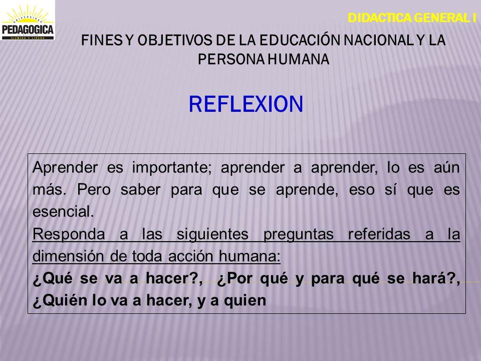 DIDACTICA GENERAL I OBJETIVO Analizar los fines y objetivos de la educación nacional a la luz de las necesidades de la sociedad y los derechos de la Persona Humana..