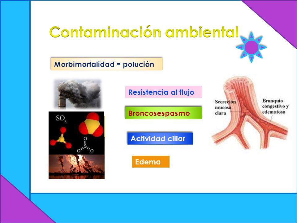 Morbimortalidad = polución Bióxido de azufre Resistencia al flujo Broncosespasmo Actividad ciliar Edema