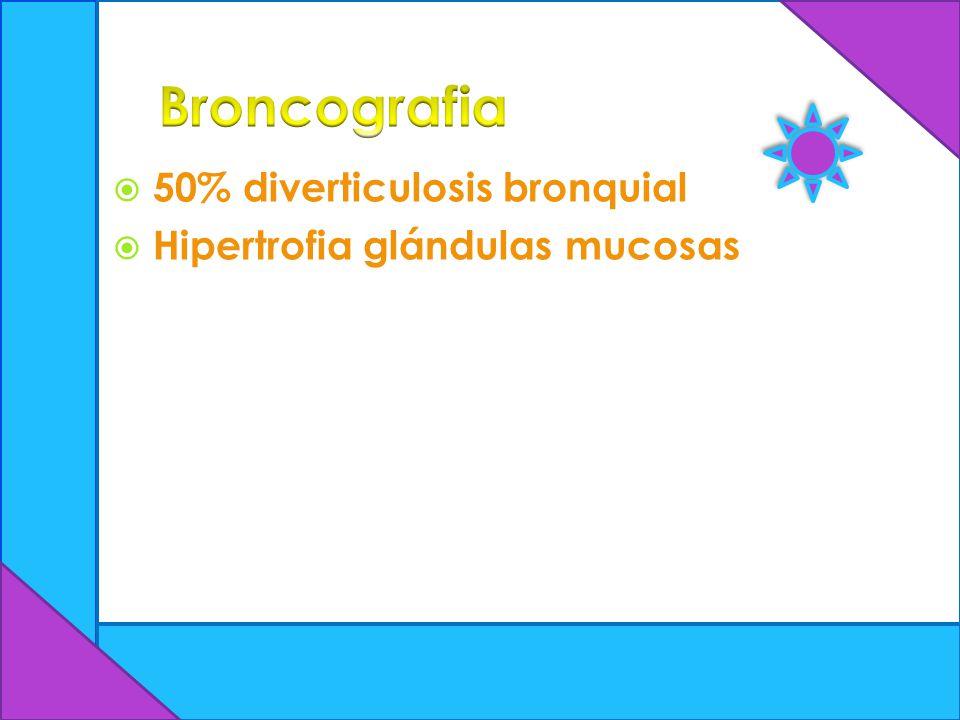 50% diverticulosis bronquial Hipertrofia glándulas mucosas