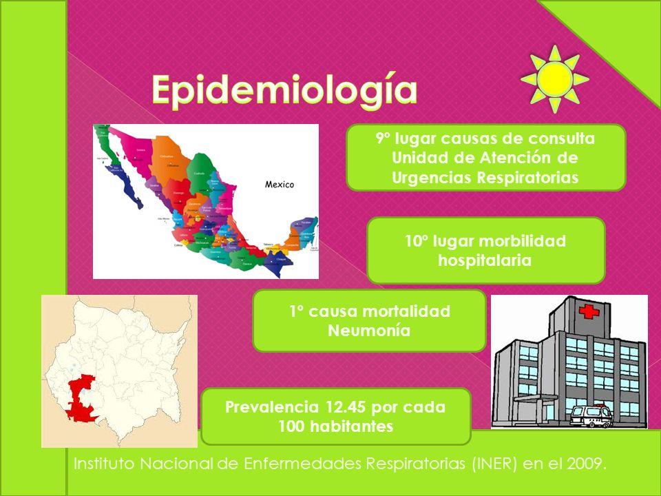 Instituto Nacional de Enfermedades Respiratorias (INER) en el 2009. 9º lugar causas de consulta Unidad de Atención de Urgencias Respiratorias 10º luga