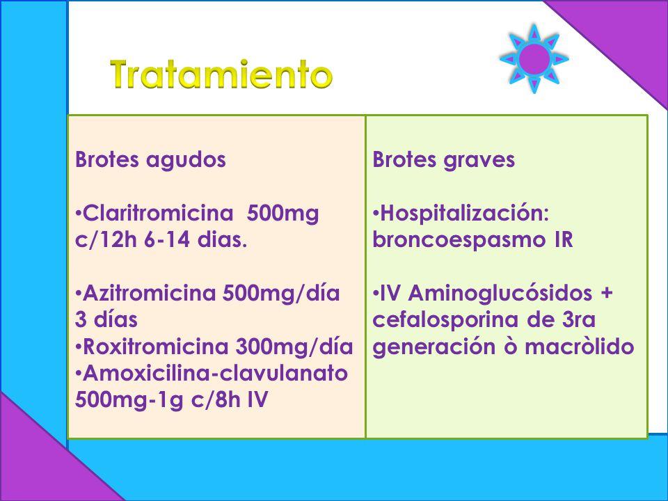 Brotes agudos Claritromicina 500mg c/12h 6-14 dias. Azitromicina 500mg/día 3 días Roxitromicina 300mg/día Amoxicilina-clavulanato 500mg-1g c/8h IV Bro