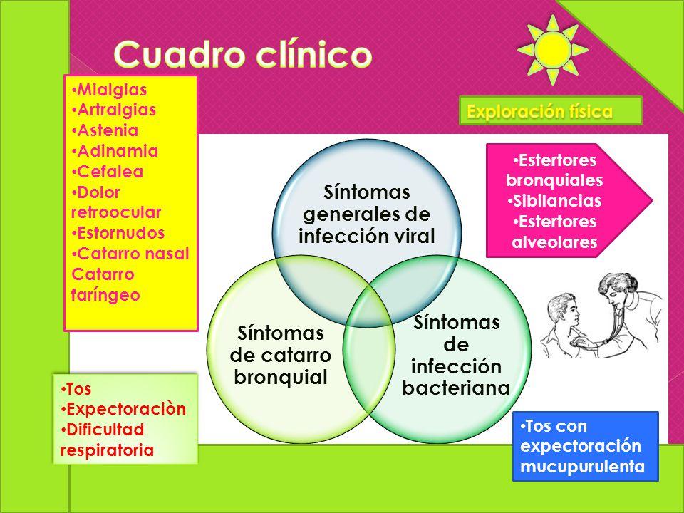 Síntomas generales de infección viral Síntomas de infección bacteriana Síntomas de catarro bronquial Mialgias Artralgias Astenia Adinamia Cefalea Dolo