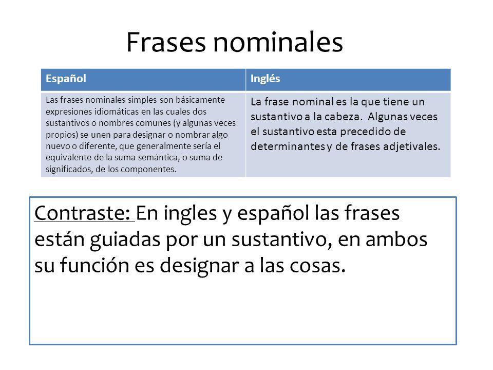 Frases nominales Contraste: En ingles y español las frases están guiadas por un sustantivo, en ambos su función es designar a las cosas.