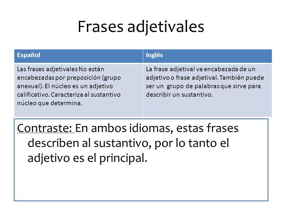 Frases adjetivales Contraste: En ambos idiomas, estas frases describen al sustantivo, por lo tanto el adjetivo es el principal.