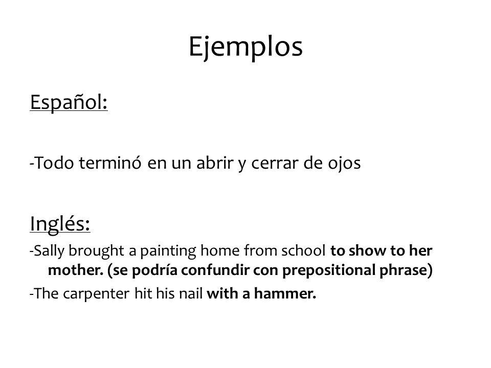 Ejemplos Español: -Todo terminó en un abrir y cerrar de ojos Inglés: -Sally brought a painting home from school to show to her mother.