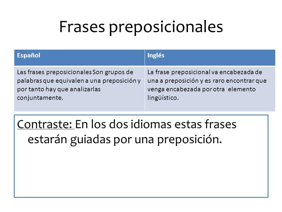 Frases preposicionales Contraste: En los dos idiomas estas frases estarán guiadas por una preposición.