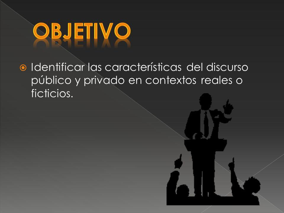 Identificar las características del discurso público y privado en contextos reales o ficticios.