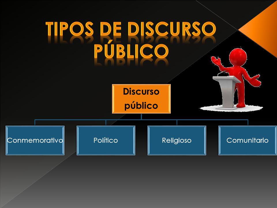 Discurso público ConmemorativoPolíticoReligiosoComunitario