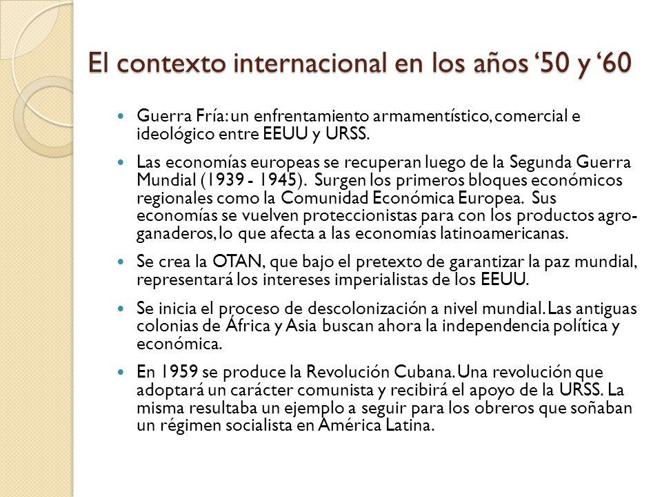 La crisis del 73 y los límites del modelo desarrollista Durante los años 50 y 60 si bien estaba en la teoría y los discursos políticos, en la práctica no se alcanzó nunca la autarquía económica.