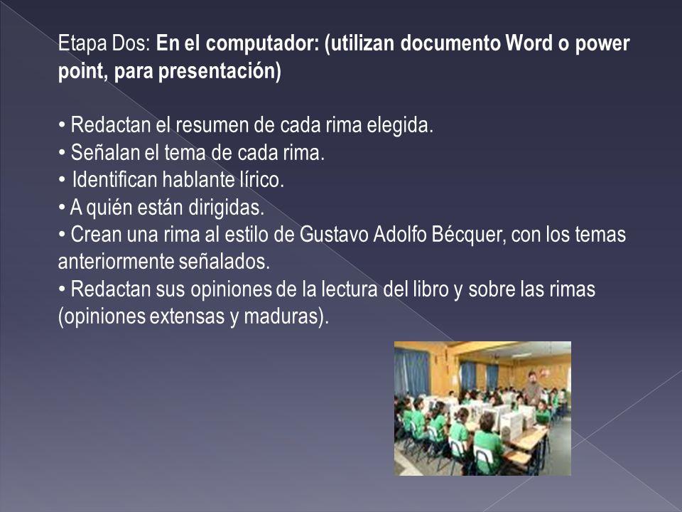 Etapa Dos: En el computador: (utilizan documento Word o power point, para presentación) Redactan el resumen de cada rima elegida.