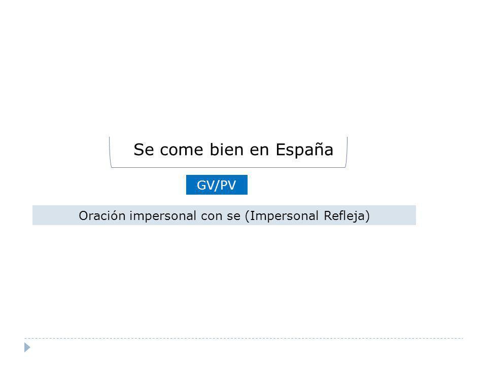 GV/PV Oración impersonal con se (Impersonal Refleja) Se come bien en España