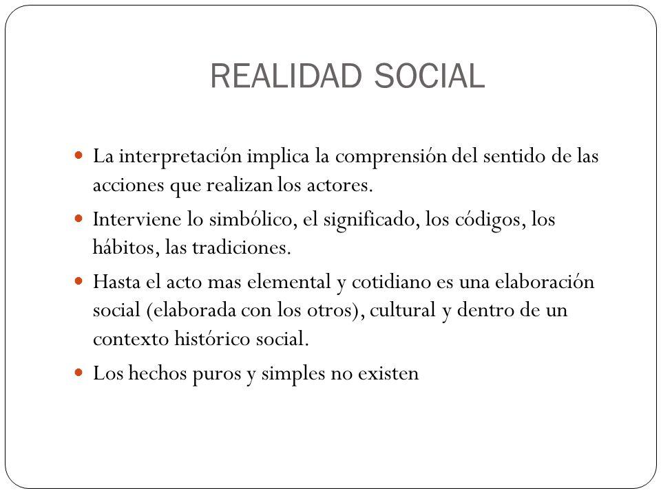REALIDAD SOCIAL La interpretación implica la comprensión del sentido de las acciones que realizan los actores. Interviene lo simbólico, el significado