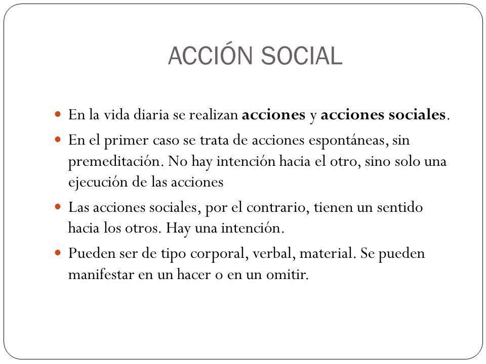 ACCIÓN SOCIAL En la vida diaria se realizan acciones y acciones sociales. En el primer caso se trata de acciones espontáneas, sin premeditación. No ha