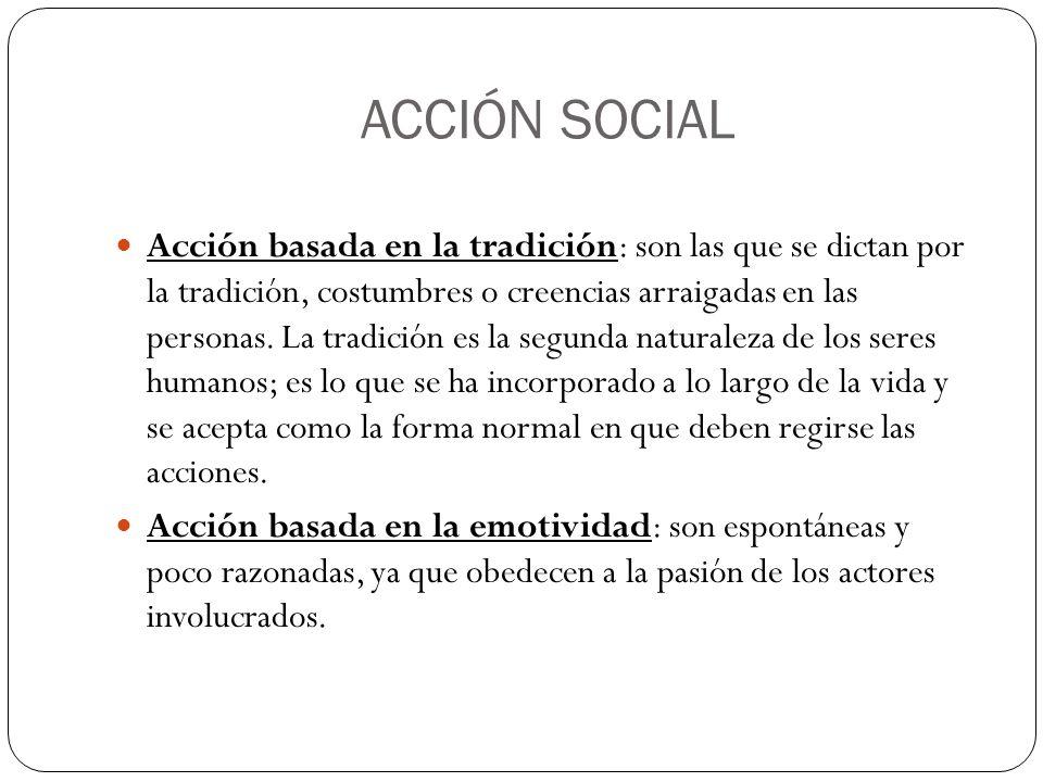 ACCIÓN SOCIAL Acción basada en la tradición: son las que se dictan por la tradición, costumbres o creencias arraigadas en las personas. La tradición e