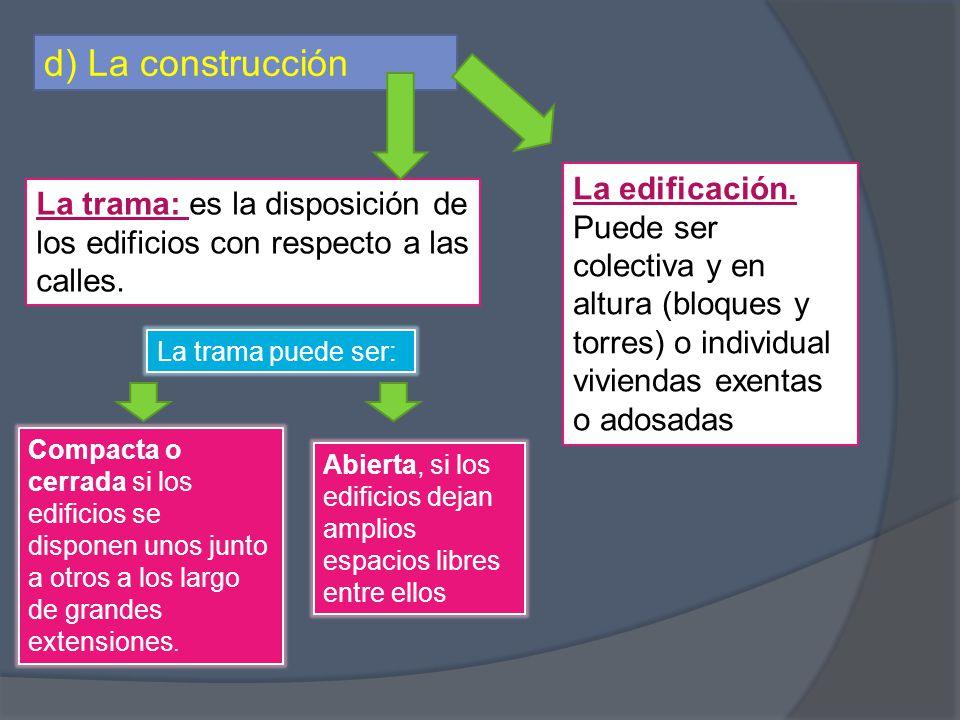 d) La construcción La trama: es la disposición de los edificios con respecto a las calles. Compacta o cerrada si los edificios se disponen unos junto
