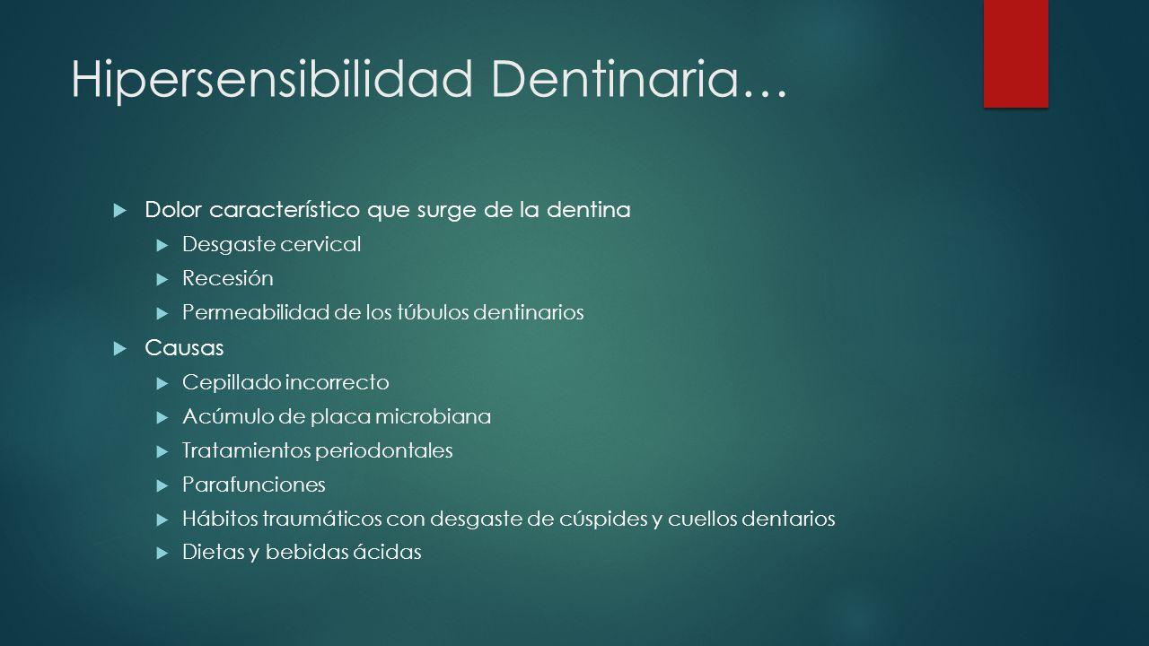 Hipersensibilidad Dentinaria… Dolor característico que surge de la dentina Desgaste cervical Recesión Permeabilidad de los túbulos dentinarios Causas