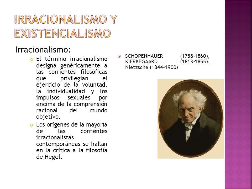 Irracionalismo: El término irracionalismo designa genéricamente a las corrientes filosóficas que privilegian el ejercicio de la voluntad, la individua