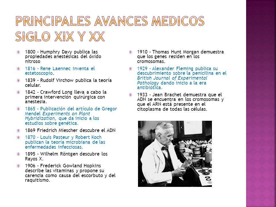 1800 - Humphry Davy publica las propiedades anestésicas del óxido nitroso 1816 - Rene Laennec inventa el estetoscopio. 1839 - Rudolf Virchow publica l