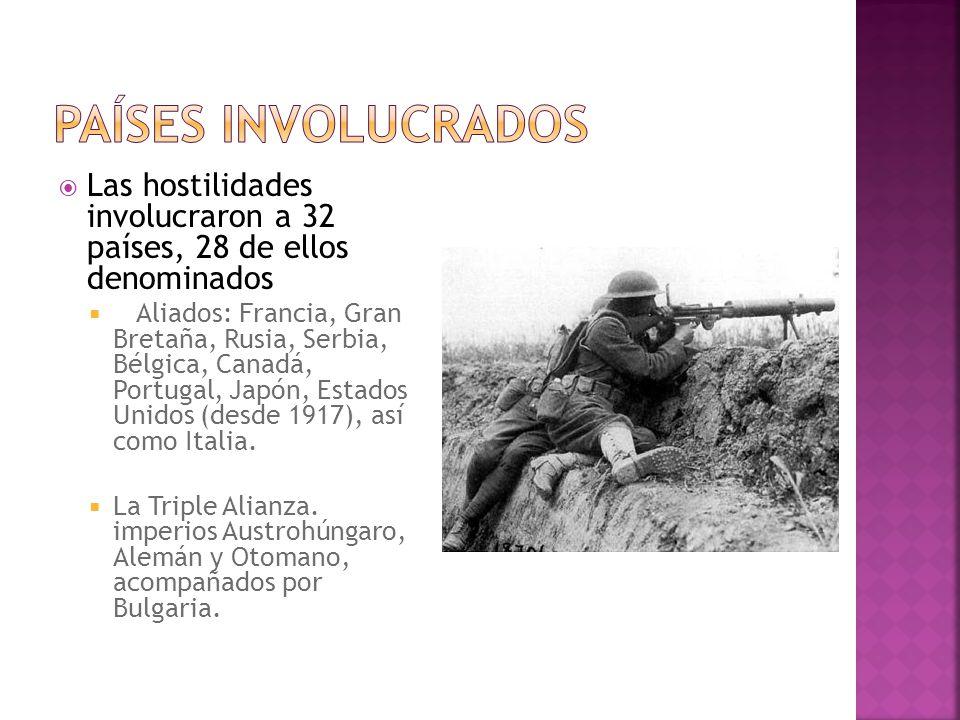 Las hostilidades involucraron a 32 países, 28 de ellos denominados Aliados: Francia, Gran Bretaña, Rusia, Serbia, Bélgica, Canadá, Portugal, Japón, Es