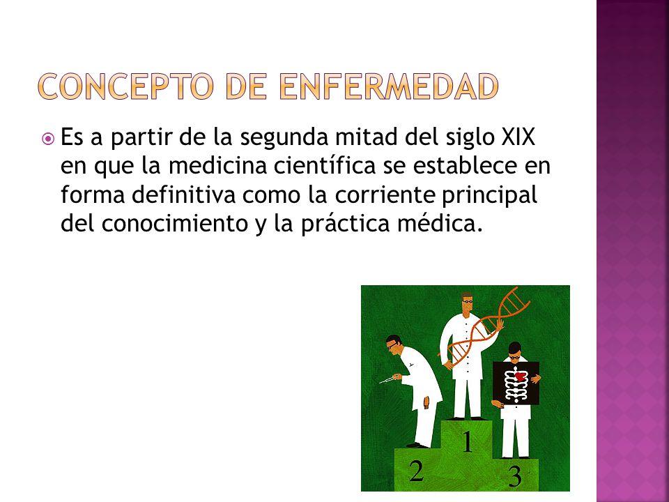 Es a partir de la segunda mitad del siglo XIX en que la medicina científica se establece en forma definitiva como la corriente principal del conocimie