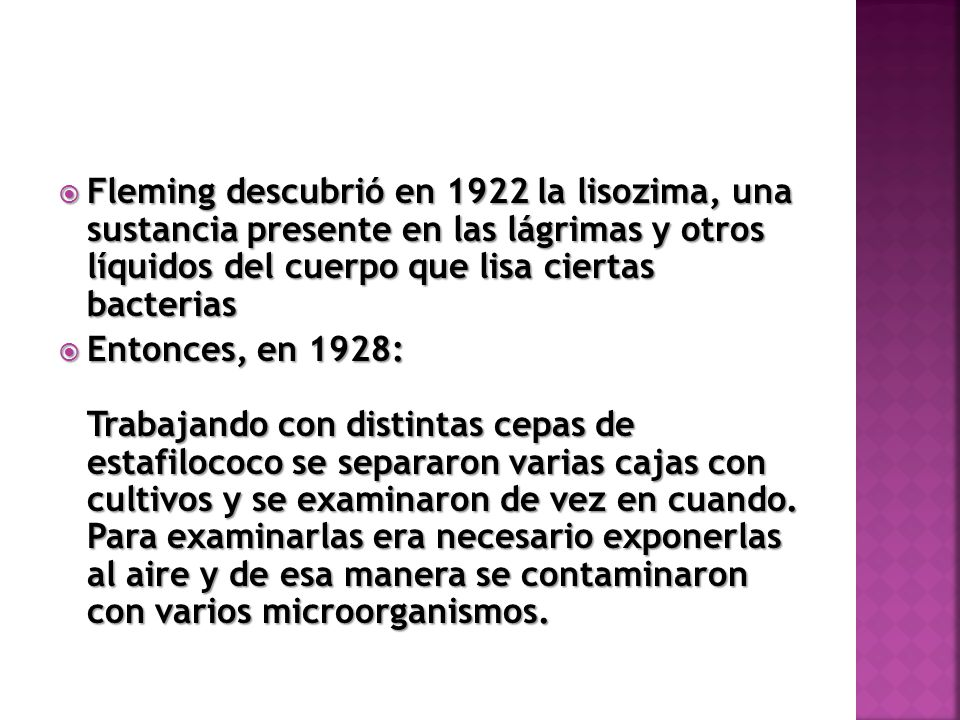 Fleming descubrió en 1922 la lisozima, una sustancia presente en las lágrimas y otros líquidos del cuerpo que lisa ciertas bacterias Fleming descubrió