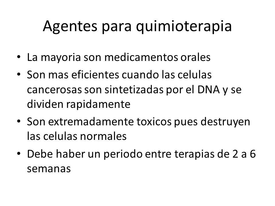 Agentes para quimioterapia La mayoria son medicamentos orales Son mas eficientes cuando las celulas cancerosas son sintetizadas por el DNA y se divide