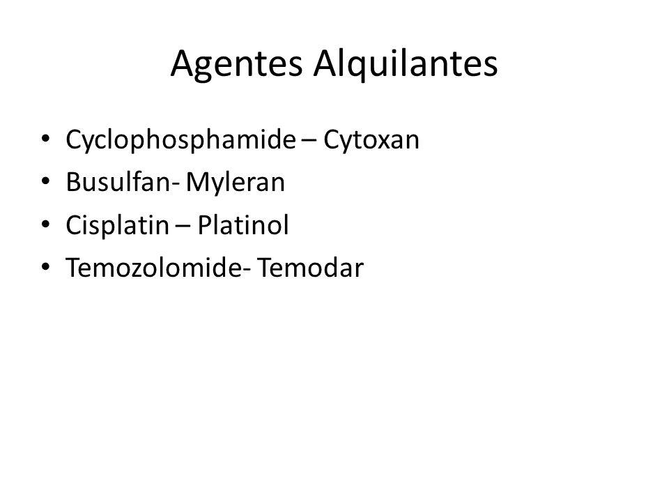 Agentes Alquilantes Cyclophosphamide – Cytoxan Busulfan- Myleran Cisplatin – Platinol Temozolomide- Temodar