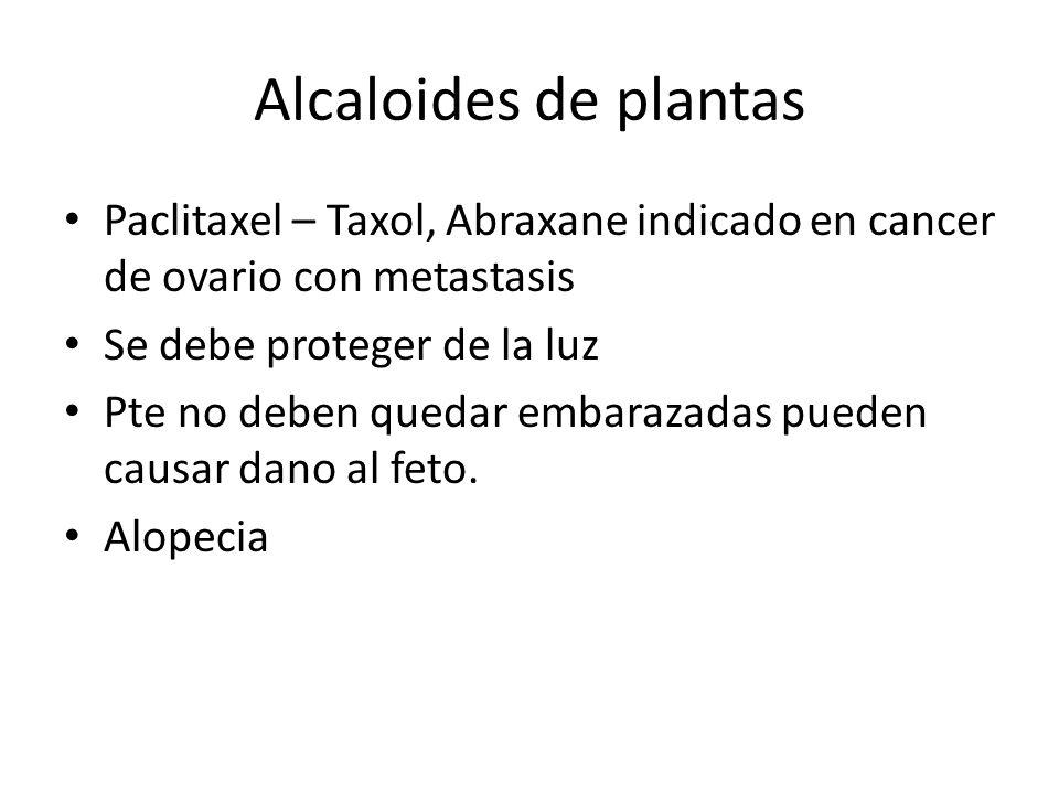 Alcaloides de plantas Paclitaxel – Taxol, Abraxane indicado en cancer de ovario con metastasis Se debe proteger de la luz Pte no deben quedar embaraza