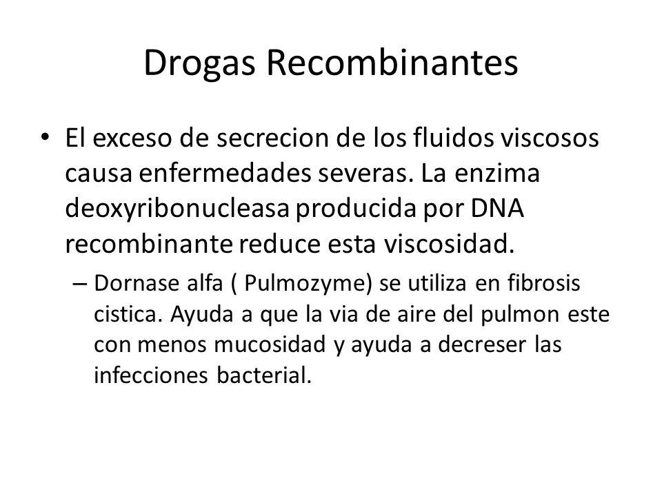 Drogas Recombinantes El exceso de secrecion de los fluidos viscosos causa enfermedades severas. La enzima deoxyribonucleasa producida por DNA recombin