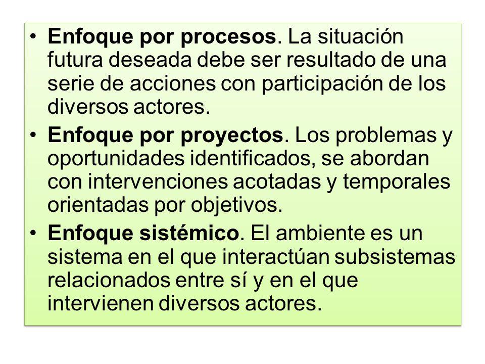 Enfoque por procesos. La situación futura deseada debe ser resultado de una serie de acciones con participación de los diversos actores. Enfoque por p