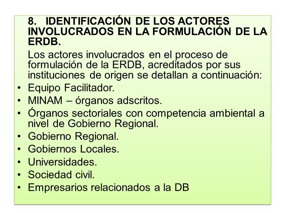 8.IDENTIFICACIÓN DE LOS ACTORES INVOLUCRADOS EN LA FORMULACIÓN DE LA ERDB. Los actores involucrados en el proceso de formulación de la ERDB, acreditad