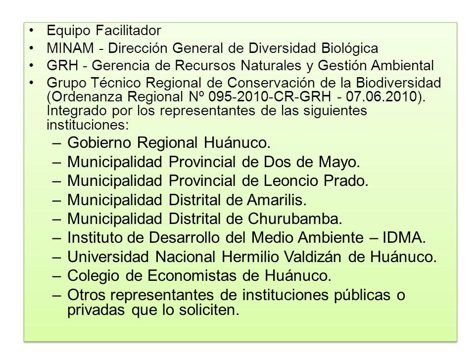 Equipo Facilitador MINAM - Dirección General de Diversidad Biológica GRH - Gerencia de Recursos Naturales y Gestión Ambiental Grupo Técnico Regional d