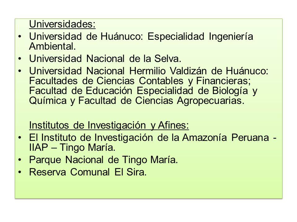 Universidades: Universidad de Huánuco: Especialidad Ingeniería Ambiental. Universidad Nacional de la Selva. Universidad Nacional Hermilio Valdizán de