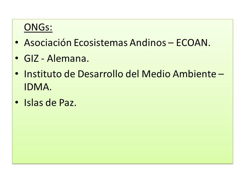 ONGs: Asociación Ecosistemas Andinos – ECOAN. GIZ - Alemana. Instituto de Desarrollo del Medio Ambiente – IDMA. Islas de Paz. ONGs: Asociación Ecosist