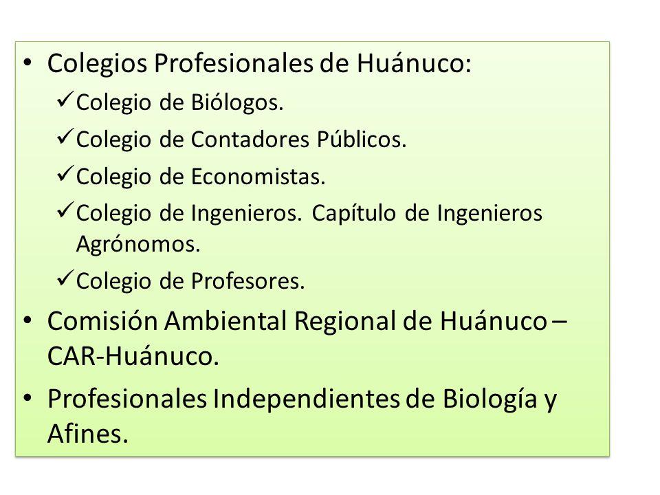 Colegios Profesionales de Huánuco: Colegio de Biólogos. Colegio de Contadores Públicos. Colegio de Economistas. Colegio de Ingenieros. Capítulo de Ing