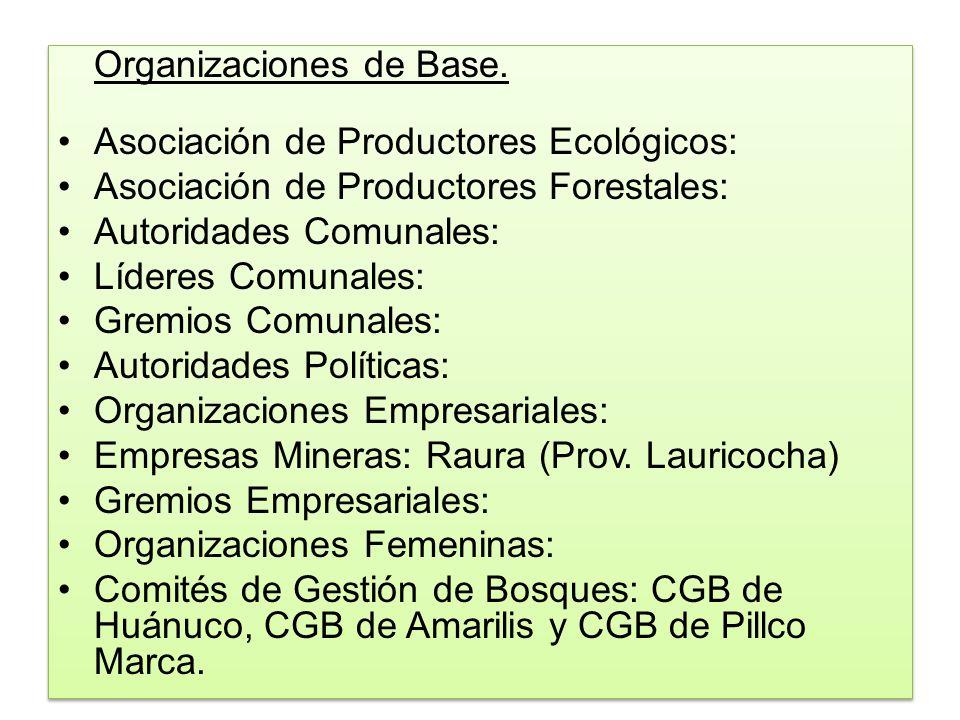 Organizaciones de Base. Asociación de Productores Ecológicos: Asociación de Productores Forestales: Autoridades Comunales: Líderes Comunales: Gremios