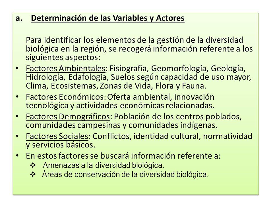 a.Determinación de las Variables y Actores Para identificar los elementos de la gestión de la diversidad biológica en la región, se recogerá informaci