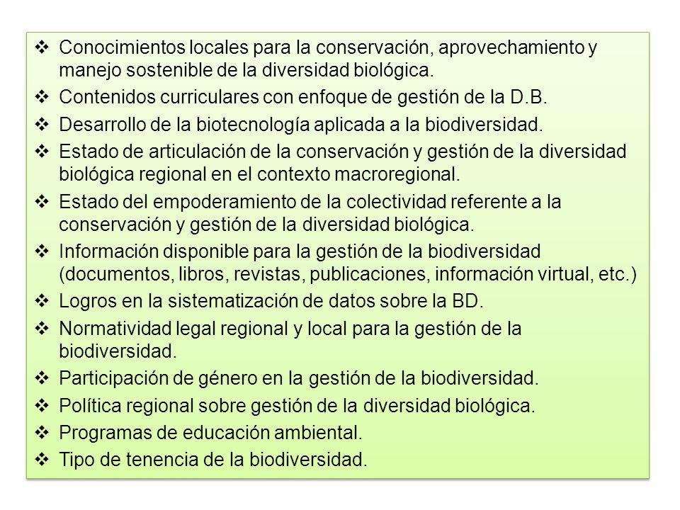Conocimientos locales para la conservación, aprovechamiento y manejo sostenible de la diversidad biológica. Contenidos curriculares con enfoque de ges