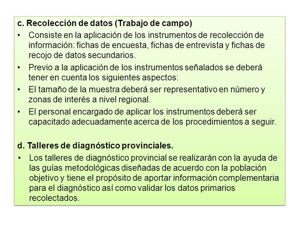 c. Recolección de datos (Trabajo de campo) Consiste en la aplicación de los instrumentos de recolección de información: fichas de encuesta, fichas de