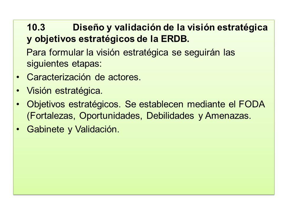 10.3Diseño y validación de la visión estratégica y objetivos estratégicos de la ERDB. Para formular la visión estratégica se seguirán las siguientes e