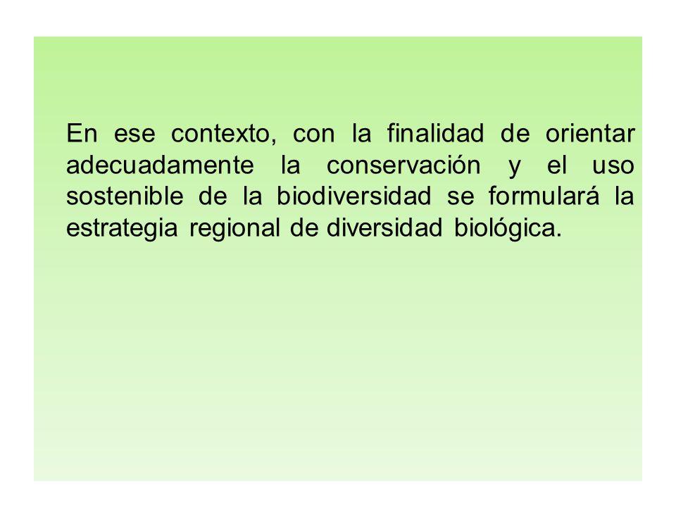 En ese contexto, con la finalidad de orientar adecuadamente la conservación y el uso sostenible de la biodiversidad se formulará la estrategia regiona