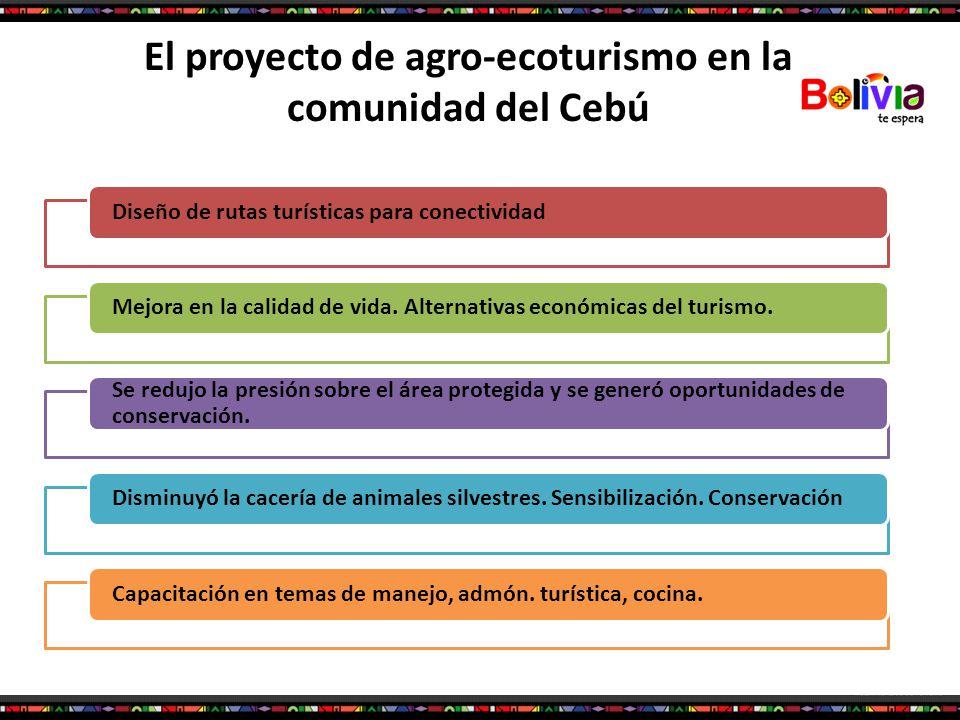 El proyecto de agro-ecoturismo en la comunidad del Cebú Diseño de rutas turísticas para conectividadMejora en la calidad de vida. Alternativas económi
