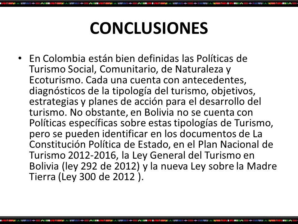 CONCLUSIONES En Colombia están bien definidas las Políticas de Turismo Social, Comunitario, de Naturaleza y Ecoturismo. Cada una cuenta con antecedent