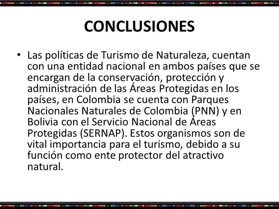 CONCLUSIONES Las políticas de Turismo de Naturaleza, cuentan con una entidad nacional en ambos países que se encargan de la conservación, protección y