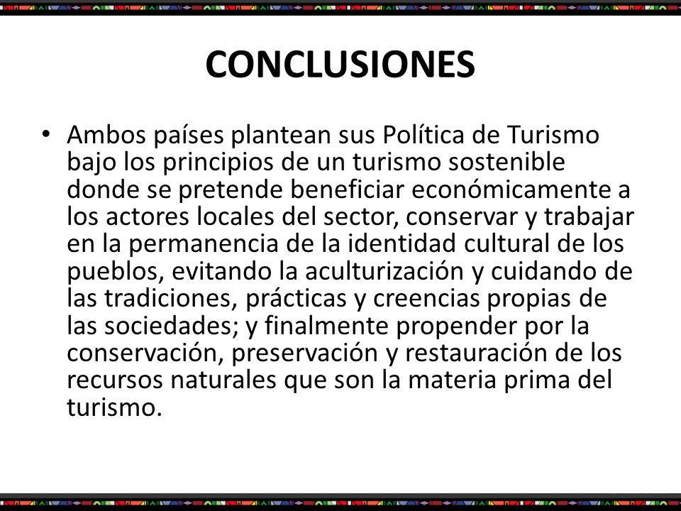 CONCLUSIONES Ambos países plantean sus Política de Turismo bajo los principios de un turismo sostenible donde se pretende beneficiar económicamente a